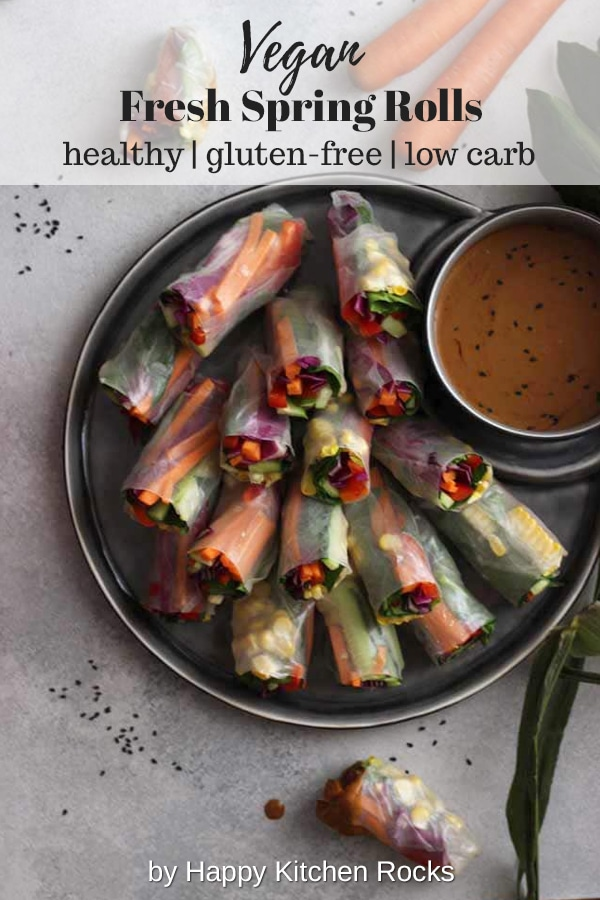 Fresh Vegan Spring Rolls Collage with Text Overlay