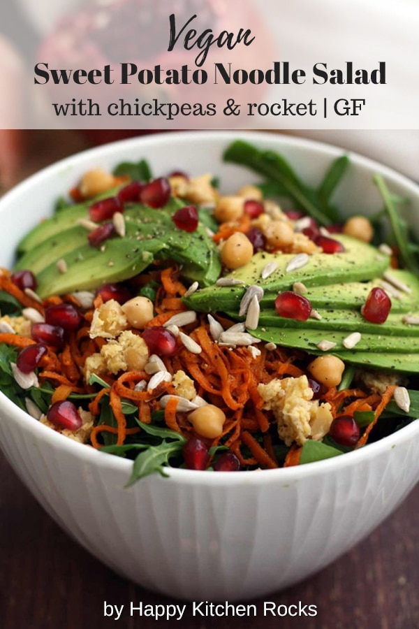 Healthy Sweet Potato Noodle Salad with Chickpeas and Rocket Collage with Text Overlay