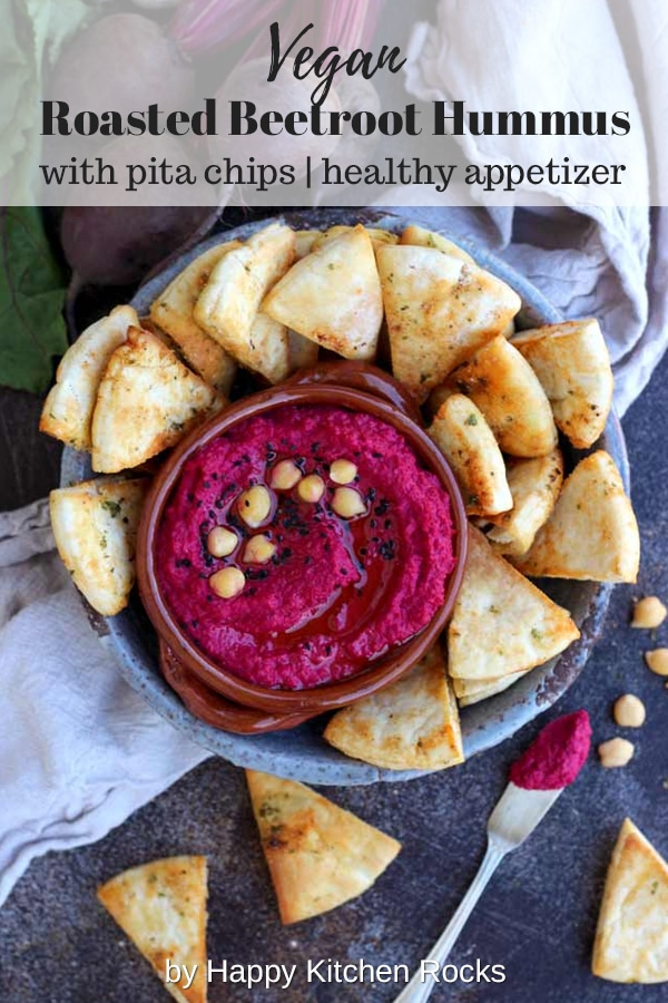 Roasted Beetroot Hummus with Pita Chips Collage with Text Overlay