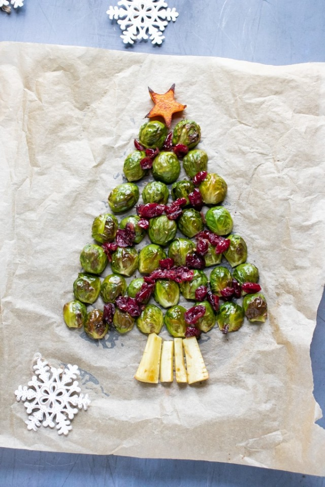 Roasted Brussels Sprouts Christmas Tree.