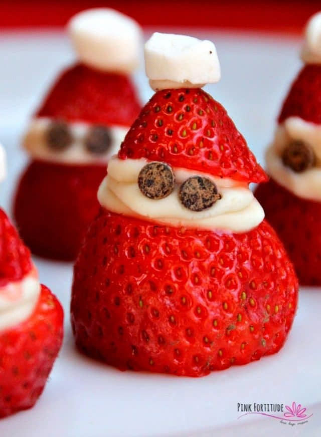 Strawberry Santas with Chocolate and Cream.