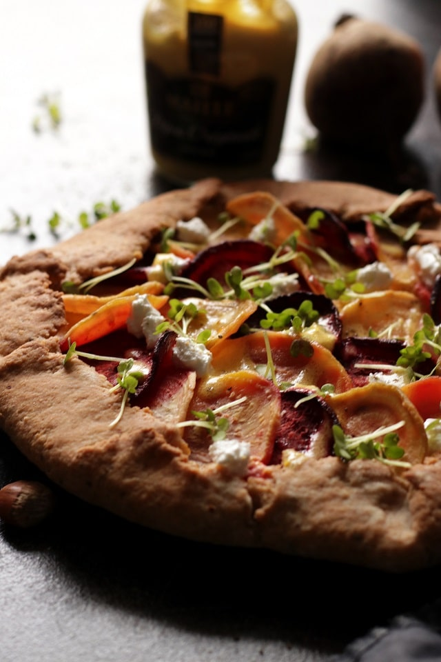 Beet Galette with Goat Cheese Back Light Closeup