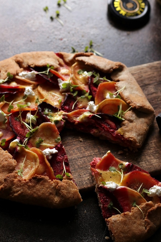 Beet Galette with Goat Cheese Closeup