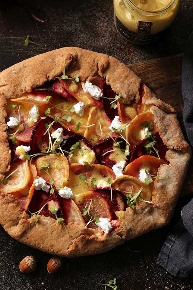 Beet Galette with Goat Cheese Flatlay
