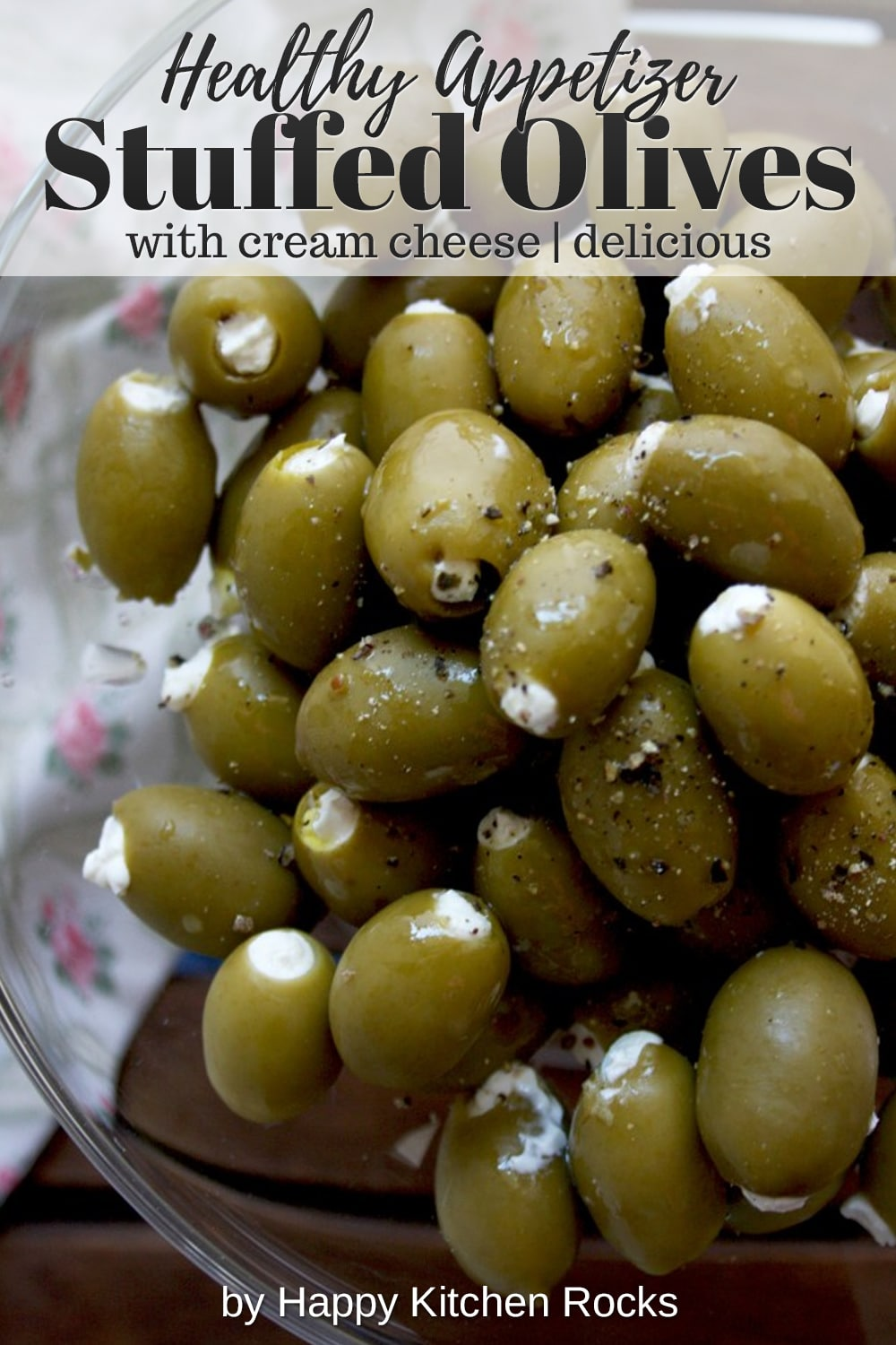 Cream Cheese Stuffed Olives Closeup Collage with Text Overlay