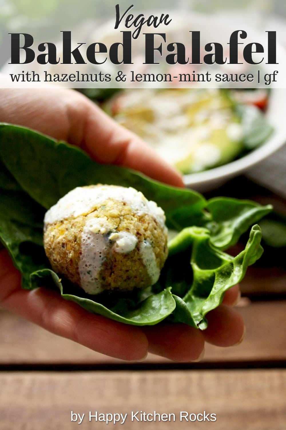 Crispy Baked Falafel with Hazelnuts and Creamy Lemon-Mint Sauce Hand Collage with Text Overlay