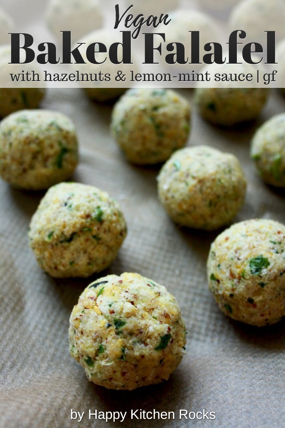 Crispy Baked Falafel with Hazelnuts and Creamy Lemon-Mint Sauce Collage with Text Overlay