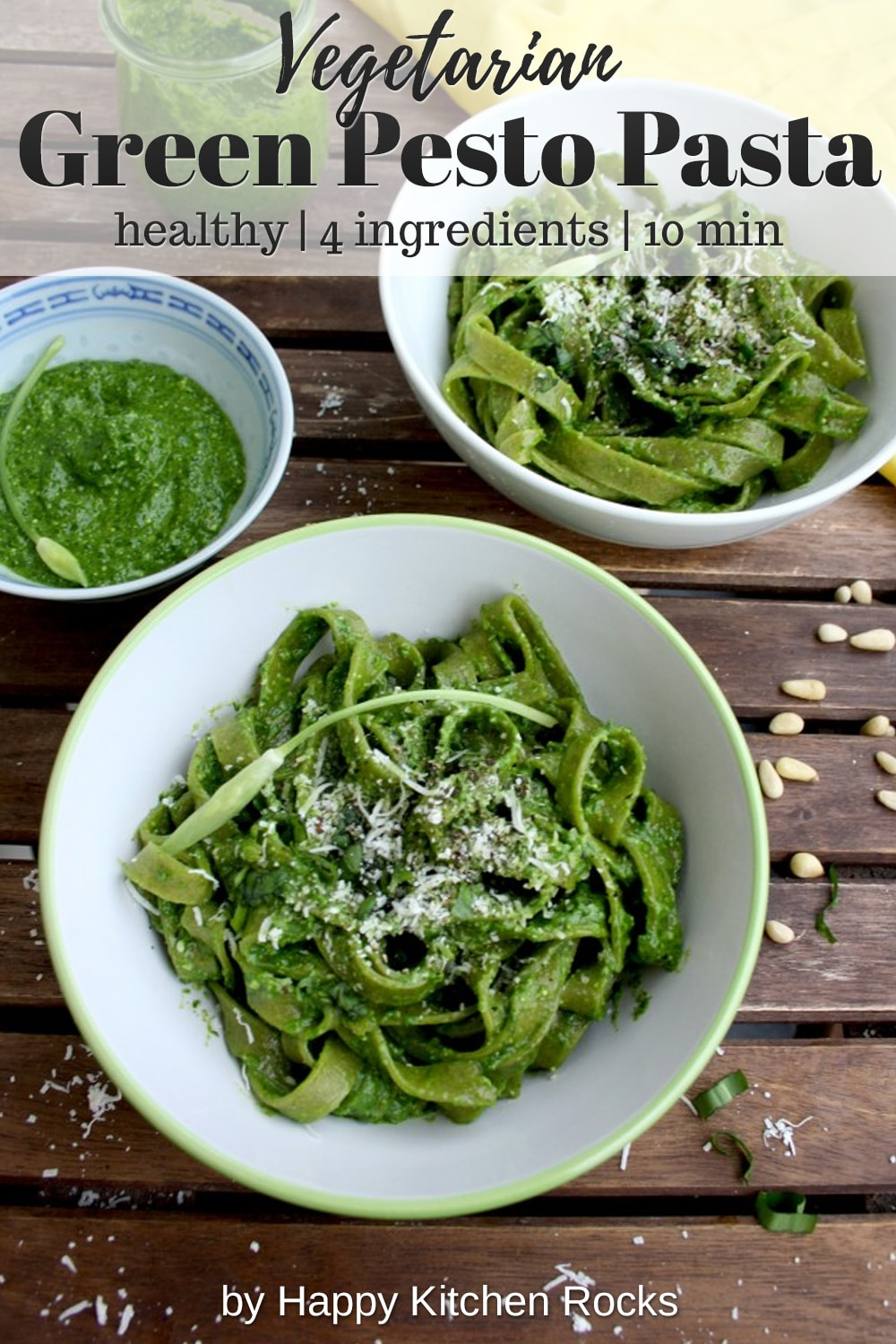 Easy Green Pesto Pasta Collage with Text Overlay