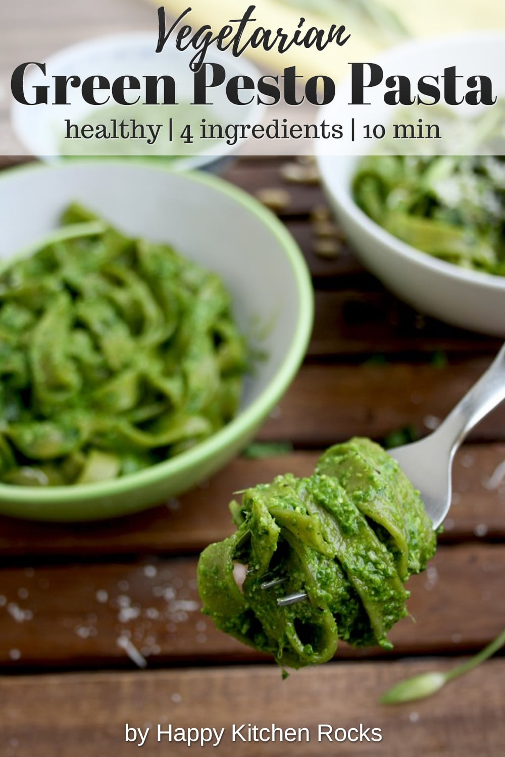 Easy Green Pesto Pasta Fork Collage with Text Overlay