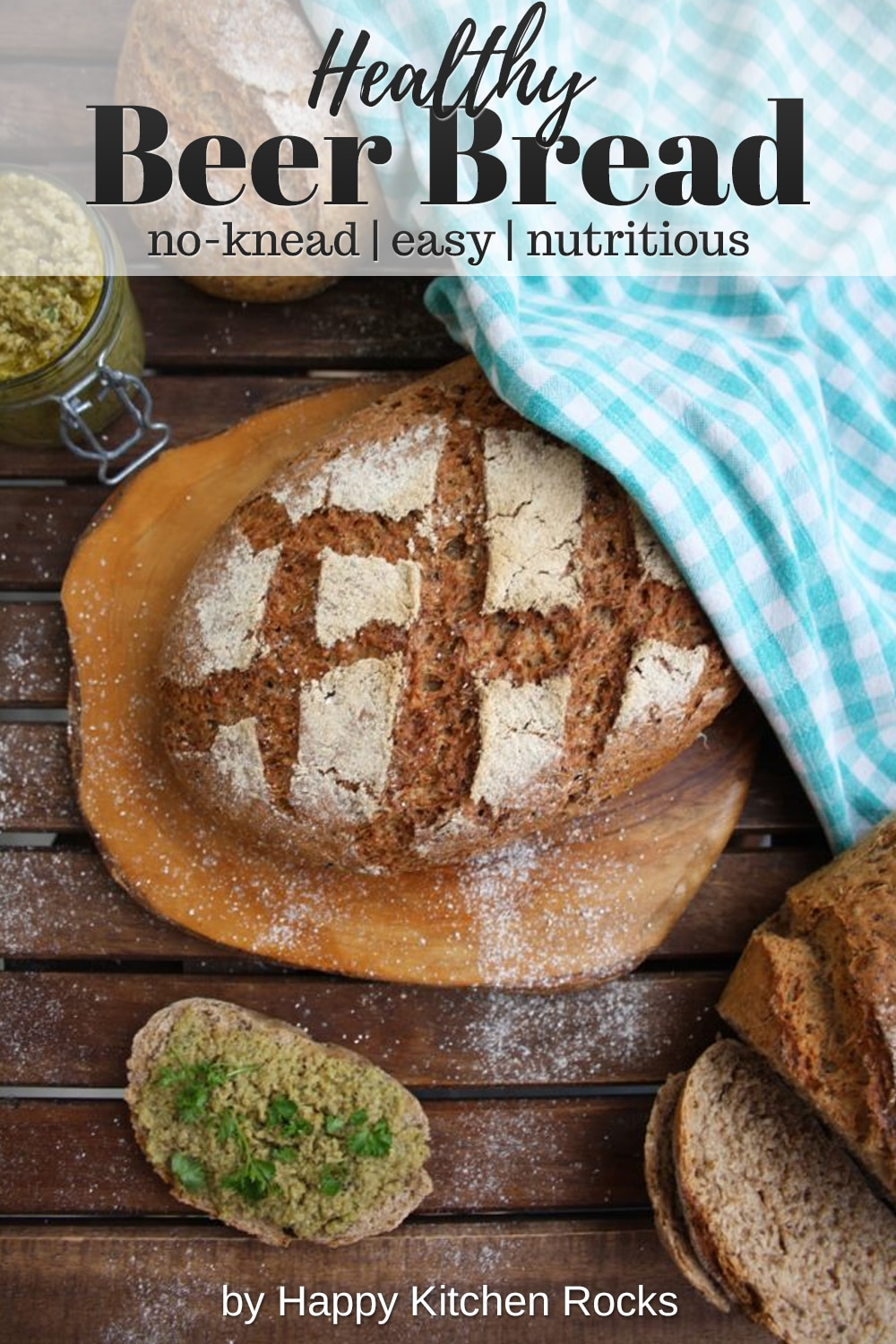 Easy No-Knead Beer Bread Overhead Collage with Text Overlay