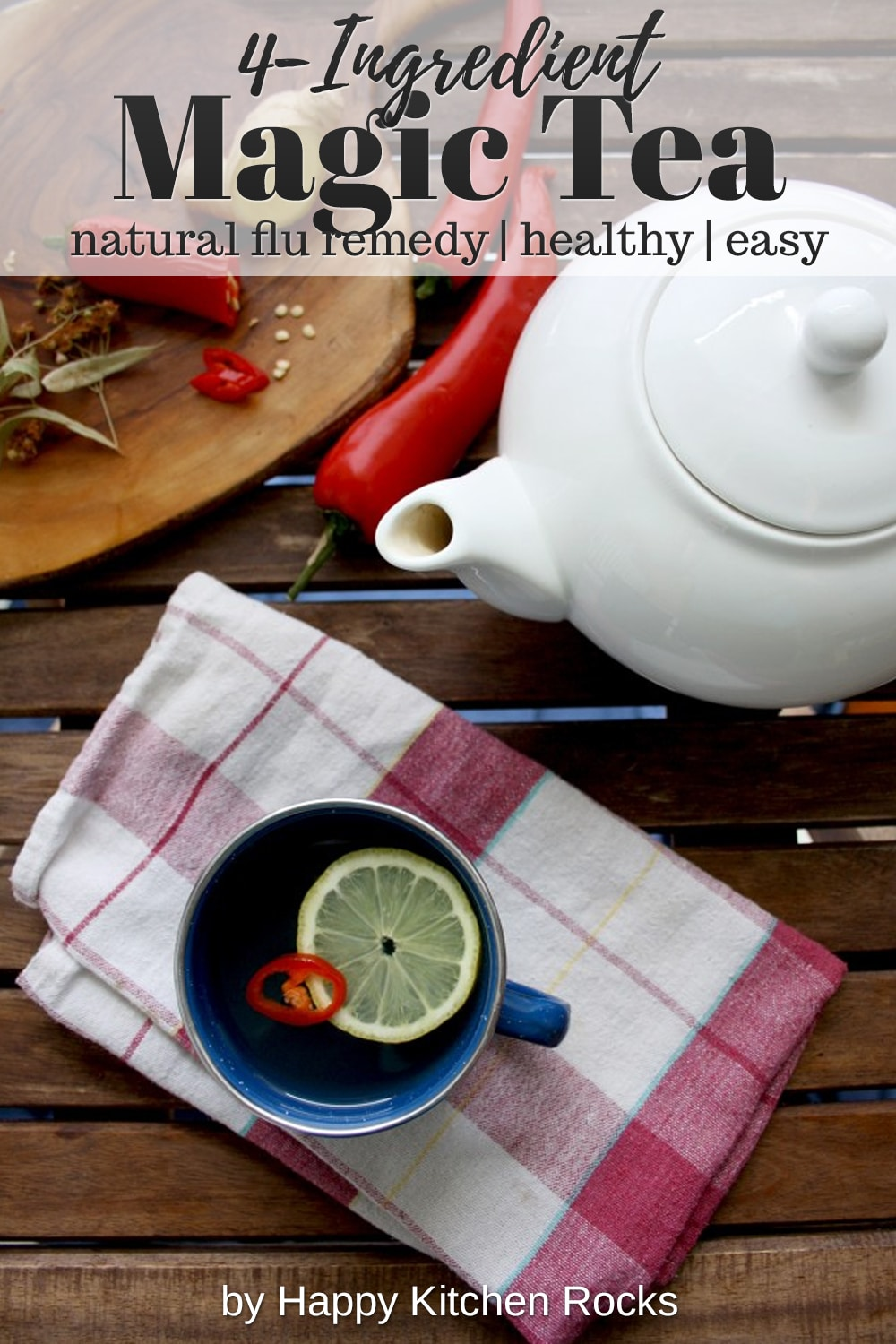 Natural Flu Remedy: Magic 4-Ingredient Tea Collage with Text Overlay