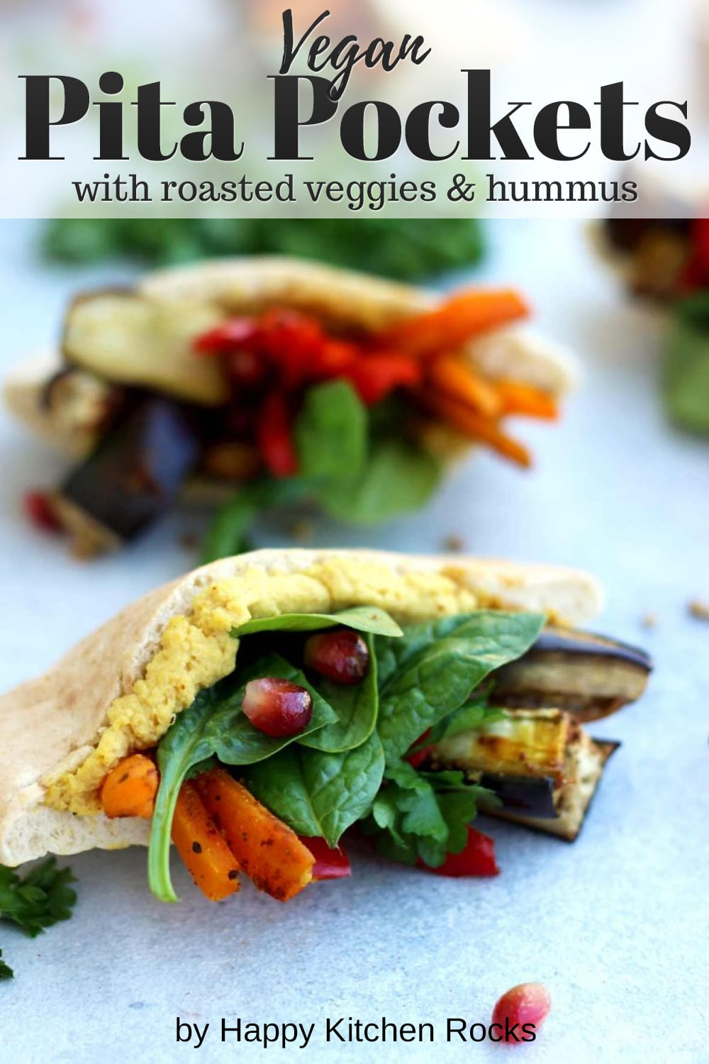 Pita Pockets with Roasted Veggies and Hummus Collage with Text Overlay