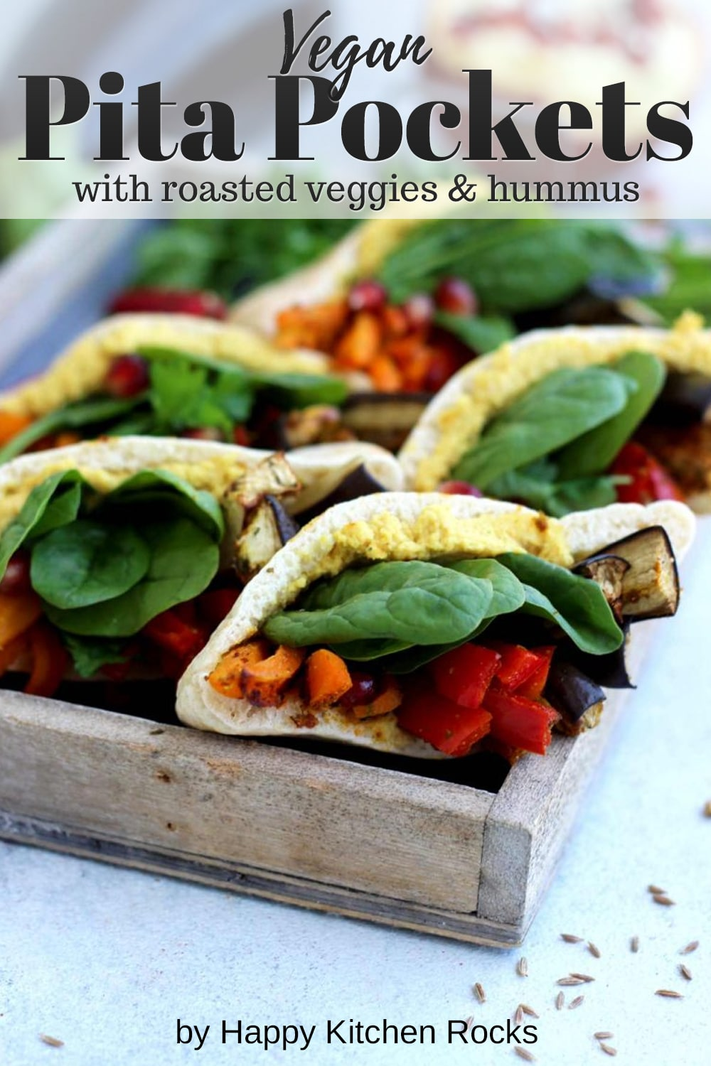 Pita Pockets with Roasted Veggies and Hummus Side View Collage with Text Overlay