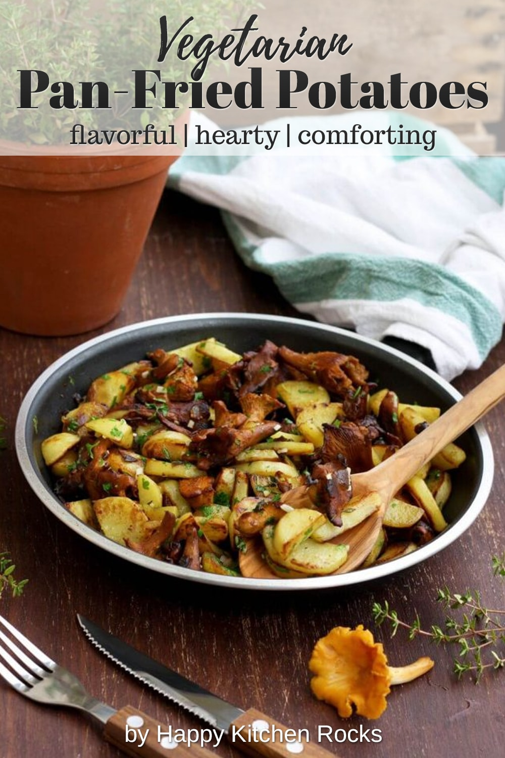 Russian Pan-Fried Potatoes with Wild Mushrooms Collage with Text Overlay