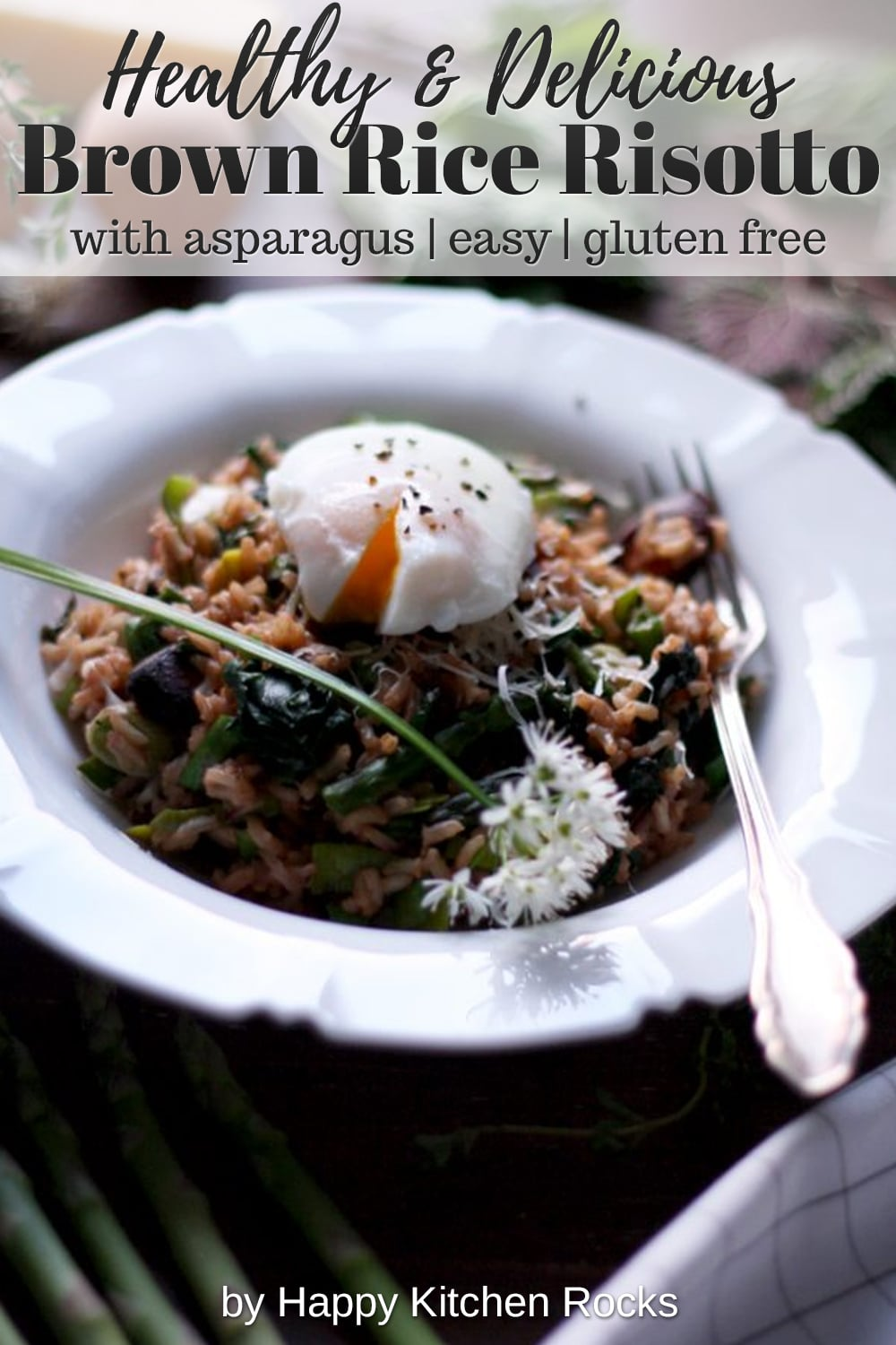 Spring Brown Rice Risotto with Asparagus Collage with Text Overlay