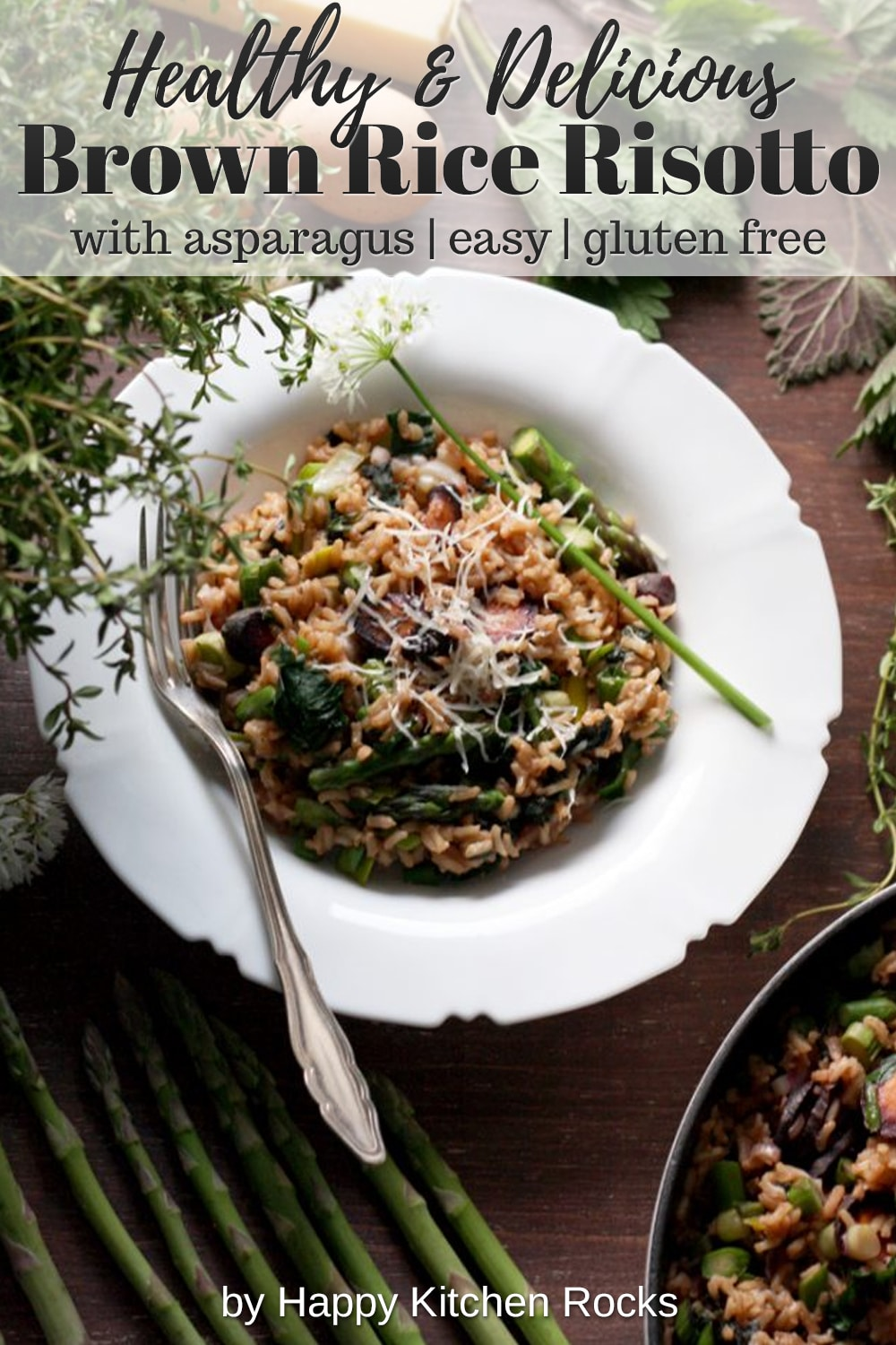 Spring Brown Rice Risotto with Asparagus Overhead Collage with Text Overlay