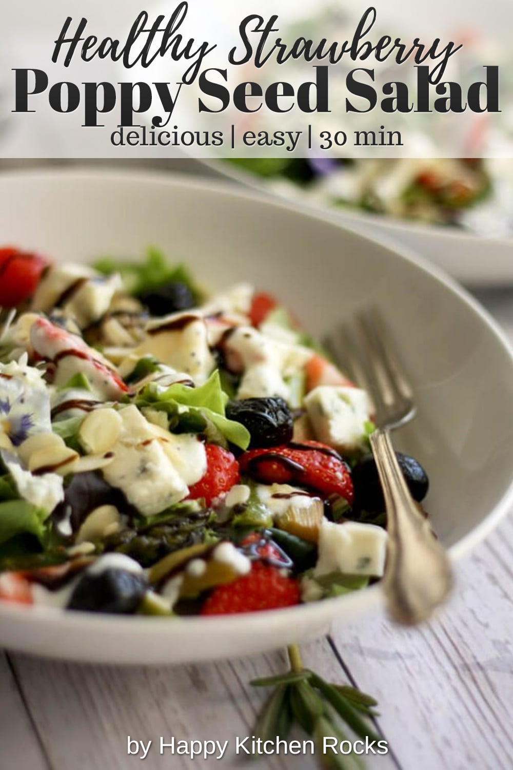 Strawberry Poppy Seed Salad with Asparagus and Rhubarb Collage with Text Overlay
