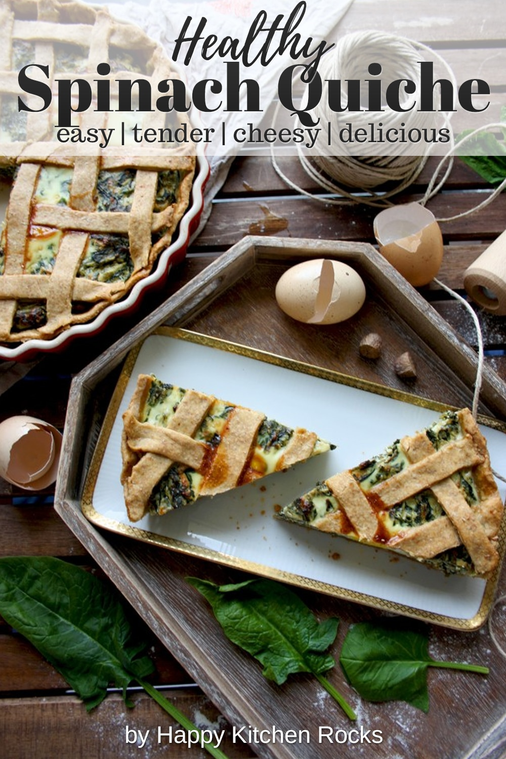The Best Rustic Ricotta Spinach Quiche Pieces Collage with Text Overlay