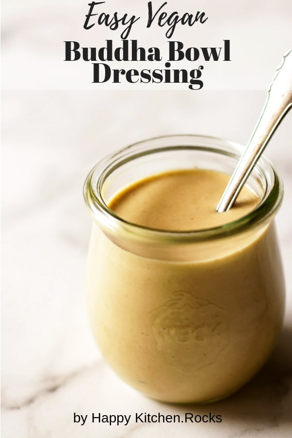 A Jar of Tahini Dressing with a Teaspoon in It Collage with Text Overlay