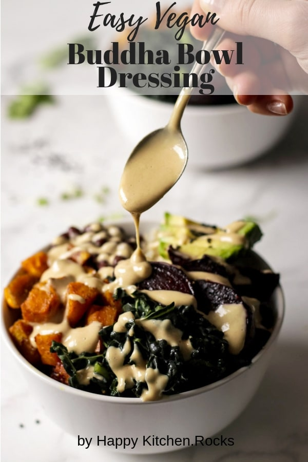Tahini Dressing Being Poured Over a Bowl of Roasted Vegetables Collage with Text Overlay