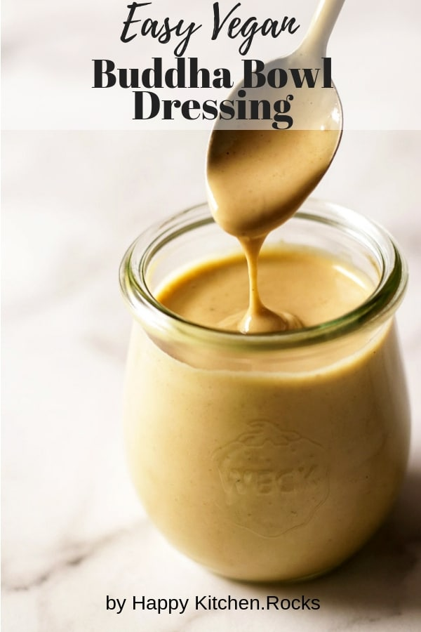 Tahini Dressing Dripping from a Spoon into a Jar Collage with Text Overlay