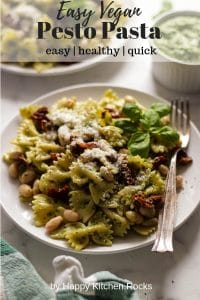 Vegan Pesto Pasta on a Plate Collage with Text Overlay