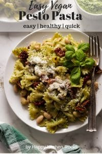 Vegan Pesto Pasta on a Plate Closeup Collage with Text Overlay