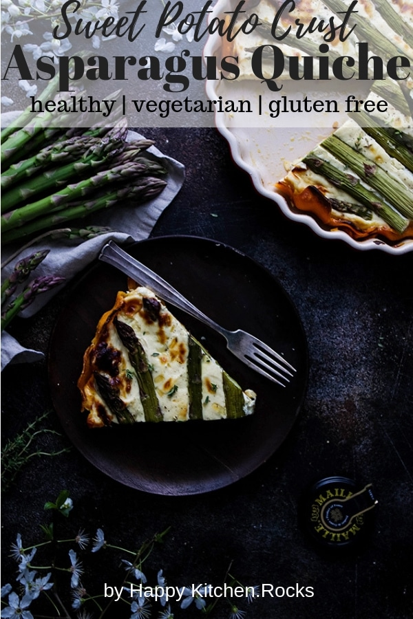 A Slice of Asparagus Quiche with Sweet Potato Crust on a Wooden Plate Next to a Pie Pan Pinterest Collage