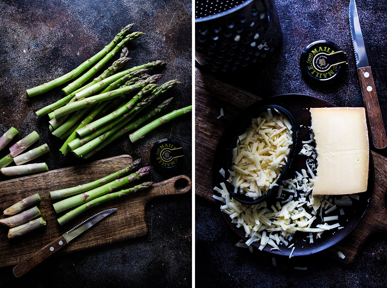 Collage: Asparagus Spears Being Trimmed on a Board Next to Grated Gruyere Cheese
