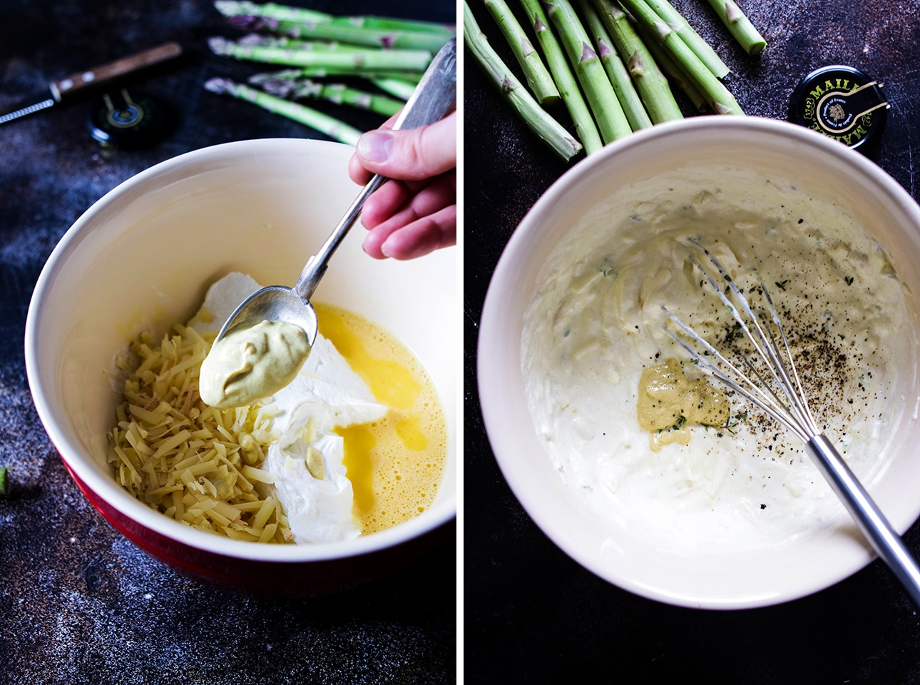 Collage: Mustard Being Added to a Mixing Bowl with Filling for Asparagus Quiche Next to a Bowl of Filling with a Whisk
