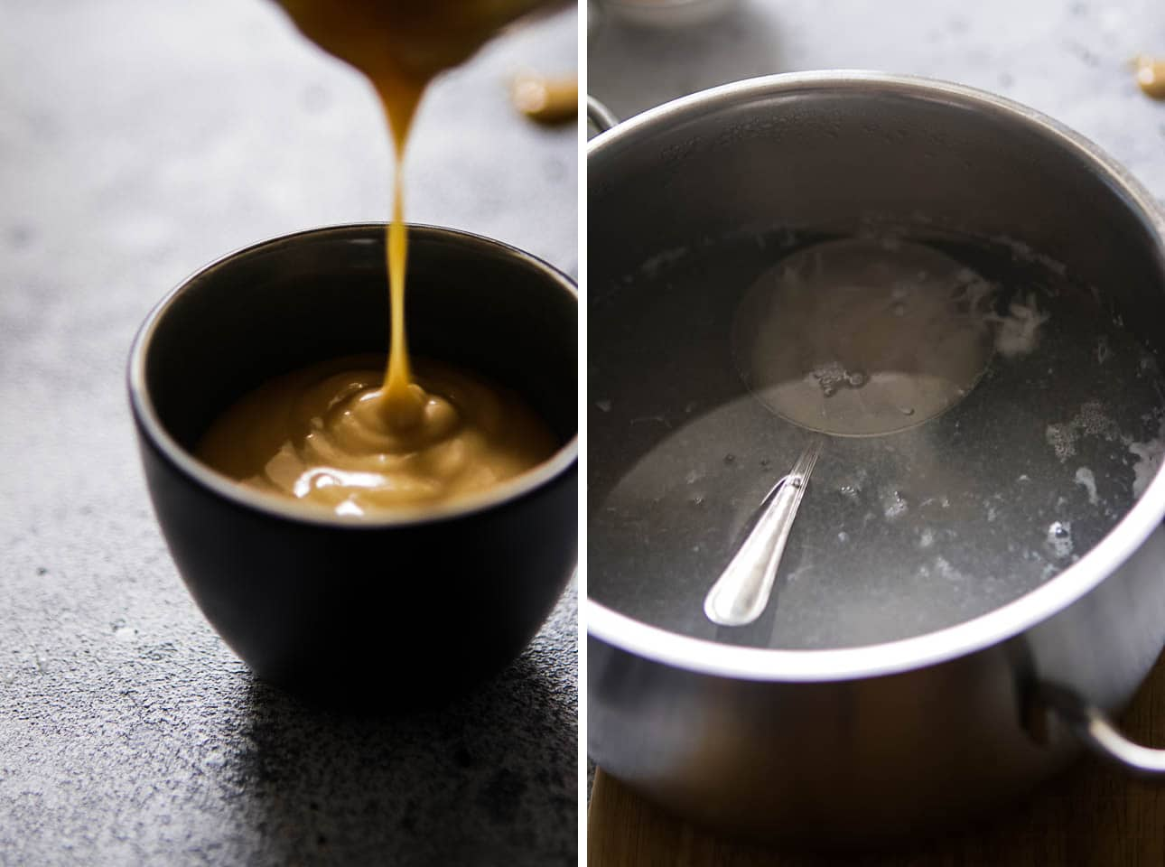 Collage of Peanut Dressing and Poached Egg in a Pot