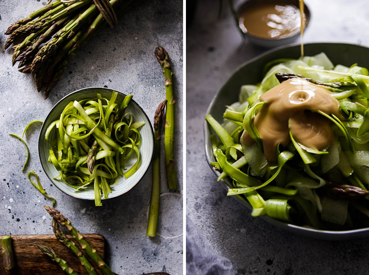 Collage of Shaved Asparagus in a Bowl and Peanut Dressing Being Poured Over Salad