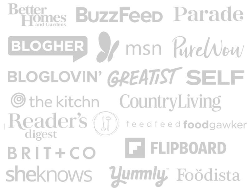 Logos of the sources that feature Happy Kitchen Rocks food blog