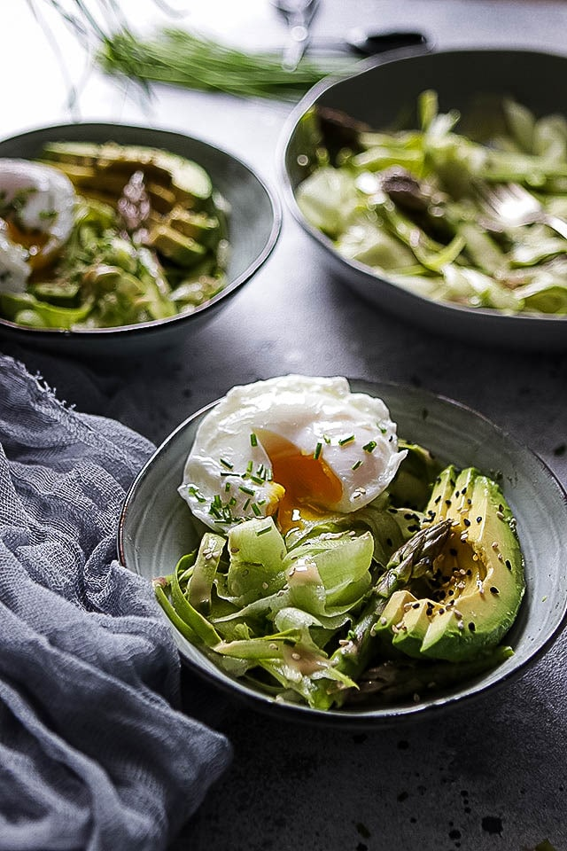 Hero Shot of Shaved Asparagus Salad with Poached Egg