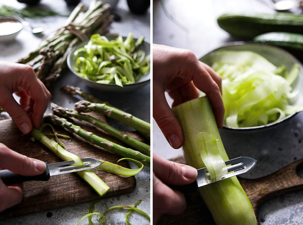 How to Shave Asparagus and Cucumber with a Vegetable Peeler