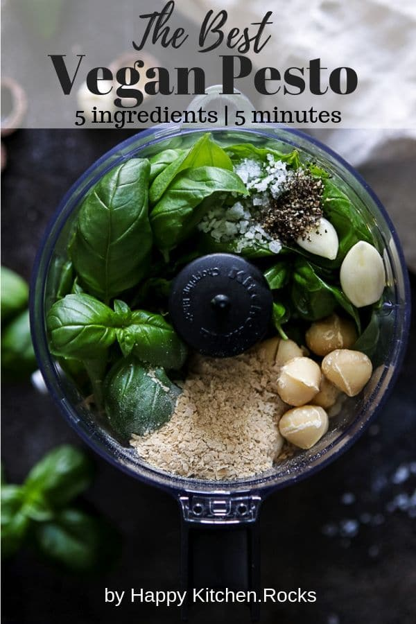 Ingredients for the Vegan Basil Pesto in a Blender Pinterest