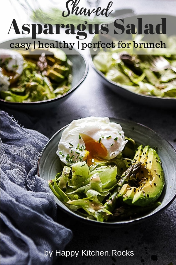 Shaved Asparagus Salad with Poached Eggs Pinterest Image with Text Overlay