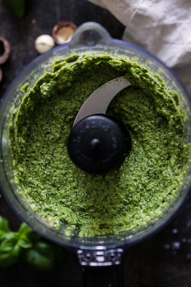Vegan Basil Pesto Being Blended in the Chopper
