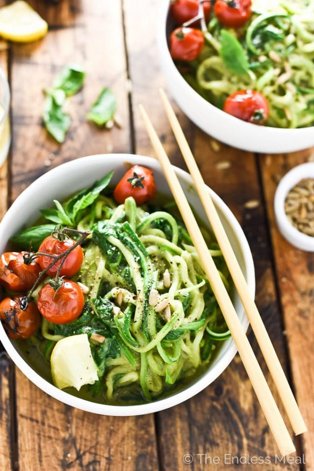 Creamy Avocado Pesto Zucchini Noodles