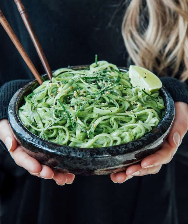 Thai linguine with basil pesto