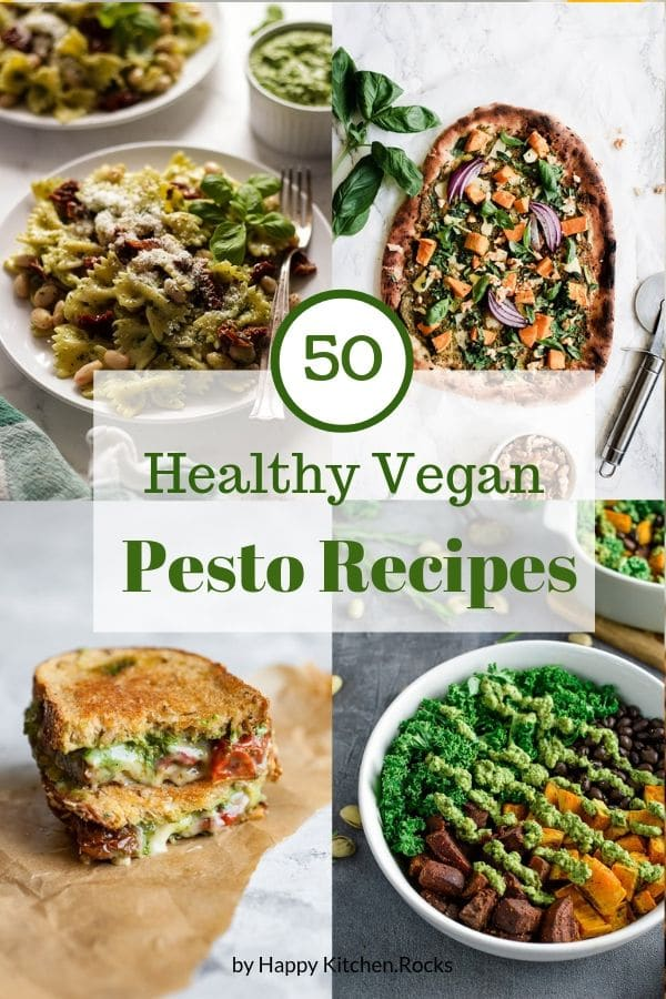 Vegan Recipes with Pesto Pinterest Collage