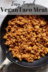 Tempeh Taco Meat in a Skillet with Text Overlay