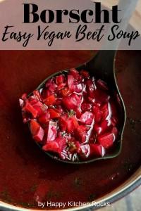A Ladle of Russian vegetarian borscht soup Pinterest Collage.