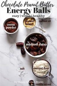Vegan Energy Balls Ingredients Pinterest Collage