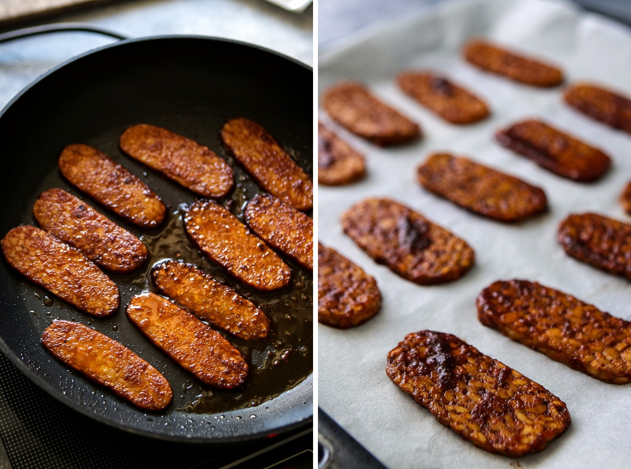 Marinated Tempeh in a Frying Pan and on a Baking Tray