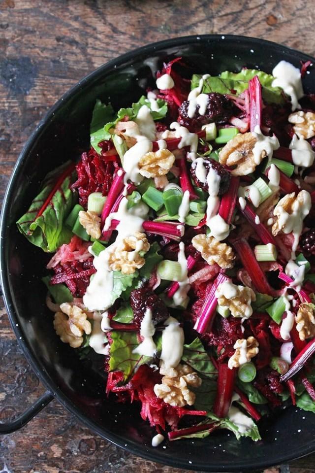 Apple Beetroot Salad with Tahini Dressing