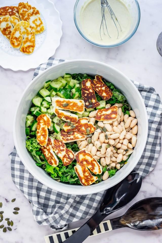 Halloumi Salad with Kale and Tahini Dressing