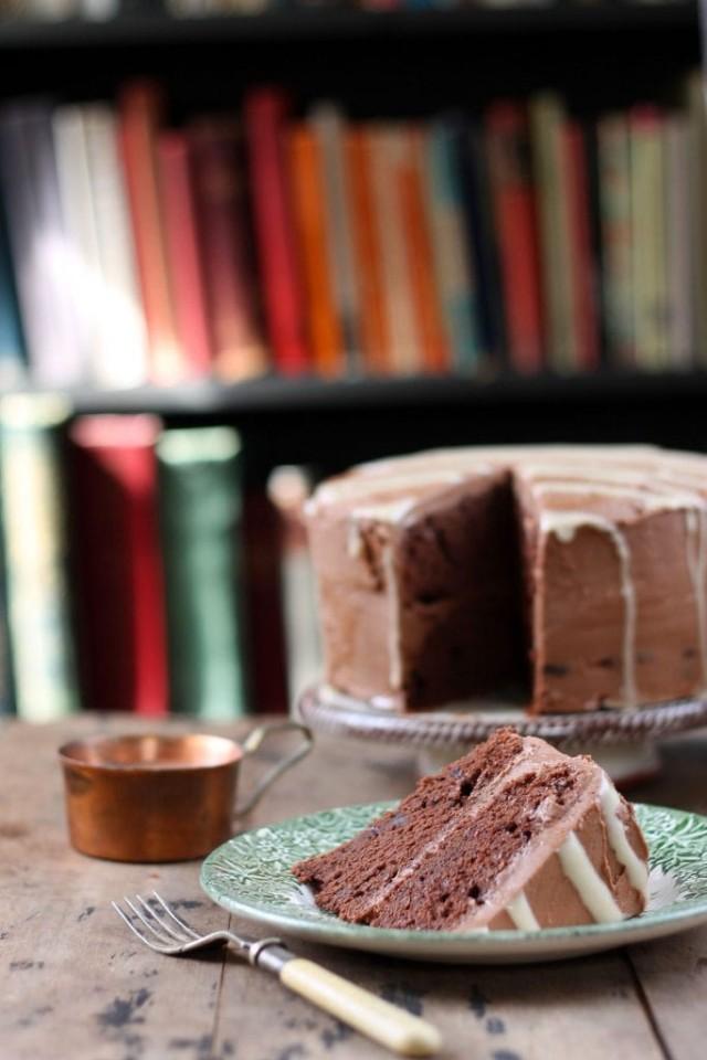 Chocolate Mashed Potato Cake with Tahini Drizzle