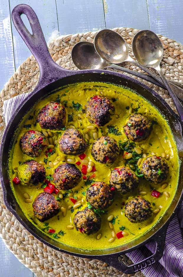 Lentil Meatballs in Tahini Turmeric Sauce
