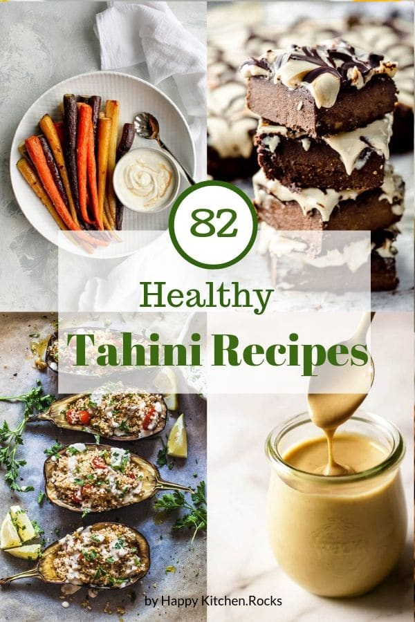 Tahini Recipes Roundup Collage with Text